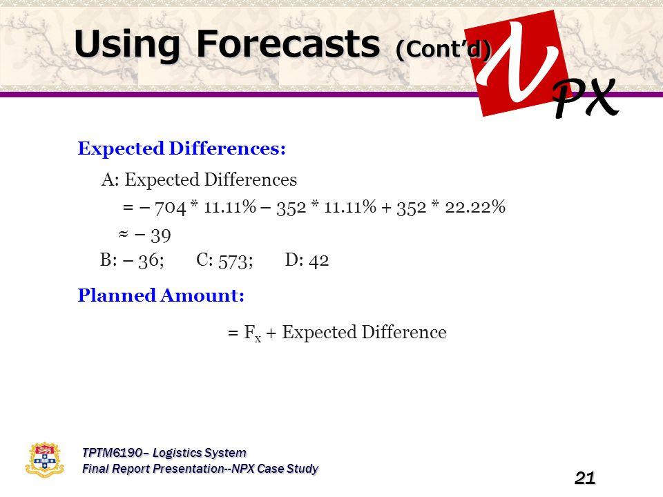 PX N TPTM6190– Logistics System Final Report Presentation--NPX Case Study 21 Using Forecasts (Cont'd) Expected Differences: A: Expected Differences =