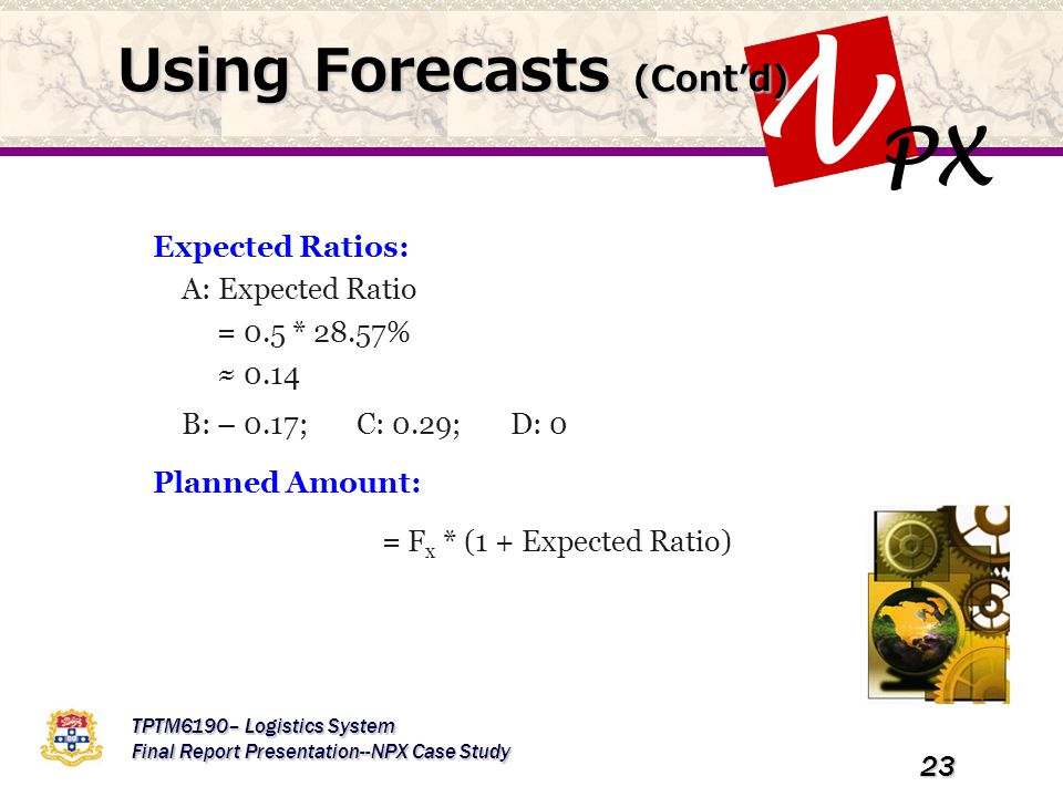 PX N TPTM6190– Logistics System Final Report Presentation--NPX Case Study 23 Using Forecasts (Cont'd) Expected Ratios: A: Expected Ratio = 0.5 * 28.57