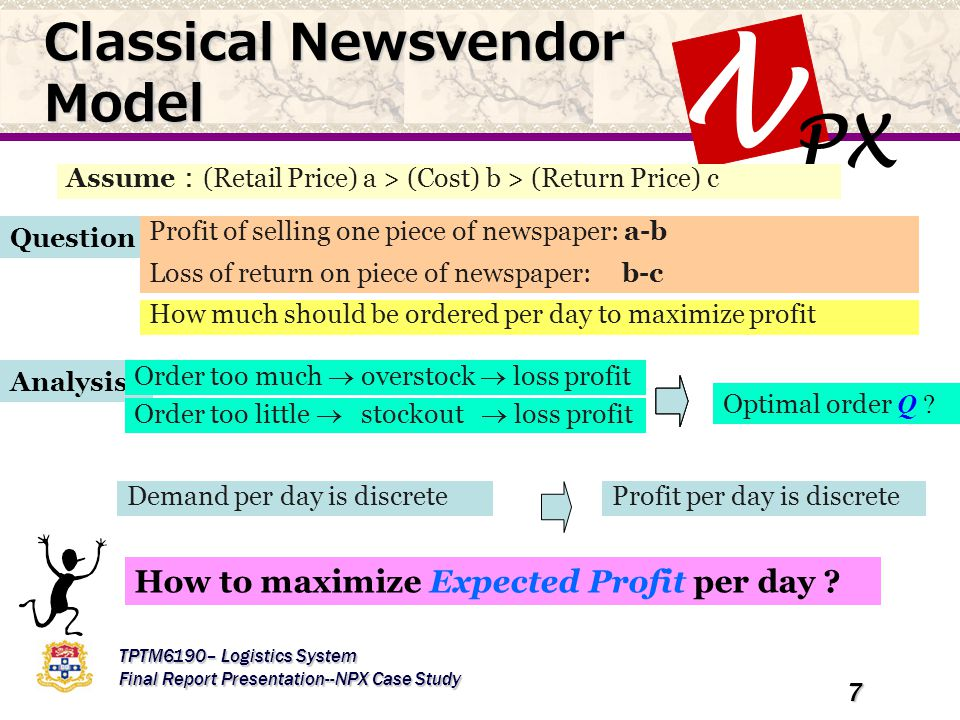 PX N TPTM6190– Logistics System Final Report Presentation--NPX Case Study 7 Question Assume : (Retail Price) a > (Cost) b > (Return Price) c Profit of selling one piece of newspaper: a-b Loss of return on piece of newspaper: b-c How much should be ordered per day to maximize profit Analysis Order too much  overstock  loss profit Order too little  stockout  loss profit Demand per day is discrete How to maximize Expected Profit per day .