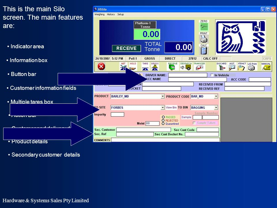 Hardware & Systems Sales Pty Limited Receivable button The main action buttons are: