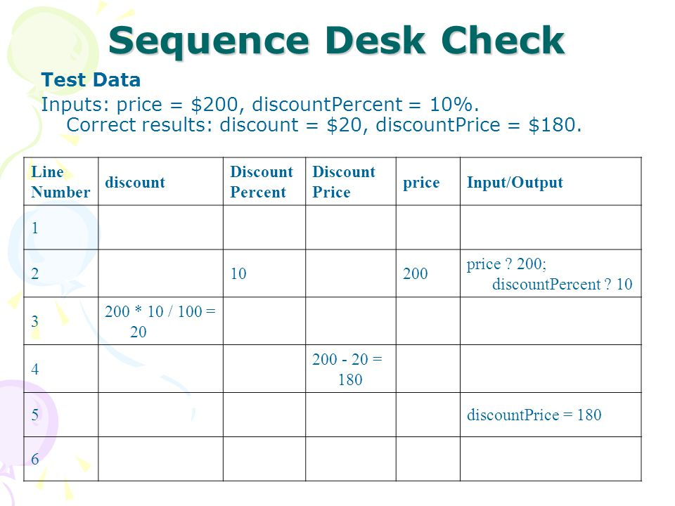 Selection Desk Check Example 2 Problem Description: Calculate the discounted price of an item purchased.
