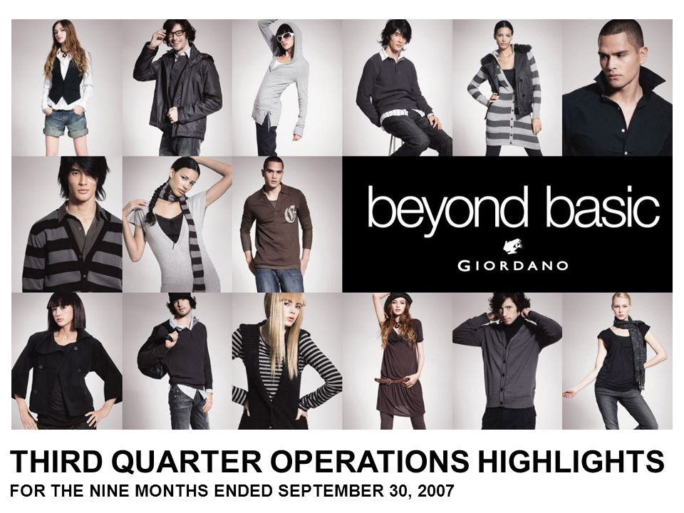 THIRD QUARTER OPERATIONS HIGHLIGHTS FOR THE NINE MONTHS ENDED SEPTEMBER 30, 2007