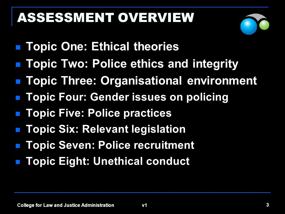 v1 3 College for Law and Justice Administration ASSESSMENT OVERVIEW Topic One: Ethical theories Topic Two: Police ethics and integrity Topic Three: Organisational environment Topic Four: Gender issues on policing Topic Five: Police practices Topic Six: Relevant legislation Topic Seven: Police recruitment Topic Eight: Unethical conduct
