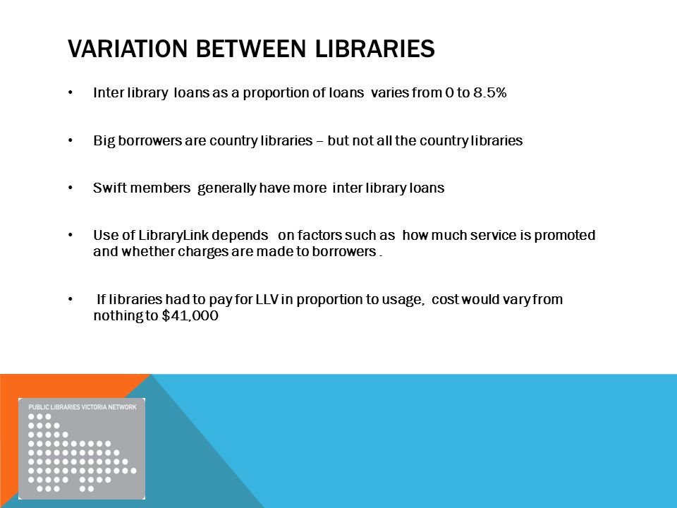 VARIATION BETWEEN LIBRARIES Inter library loans as a proportion of loans varies from 0 to 8.5% Big borrowers are country libraries – but not all the country libraries Swift members generally have more inter library loans Use of LibraryLink depends on factors such as how much service is promoted and whether charges are made to borrowers.