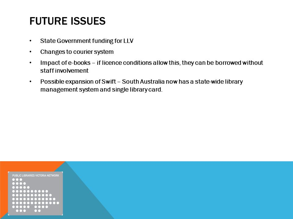 FUTURE ISSUES State Government funding for LLV Changes to courier system Impact of e-books – if licence conditions allow this, they can be borrowed without staff involvement Possible expansion of Swift – South Australia now has a state-wide library management system and single library card.