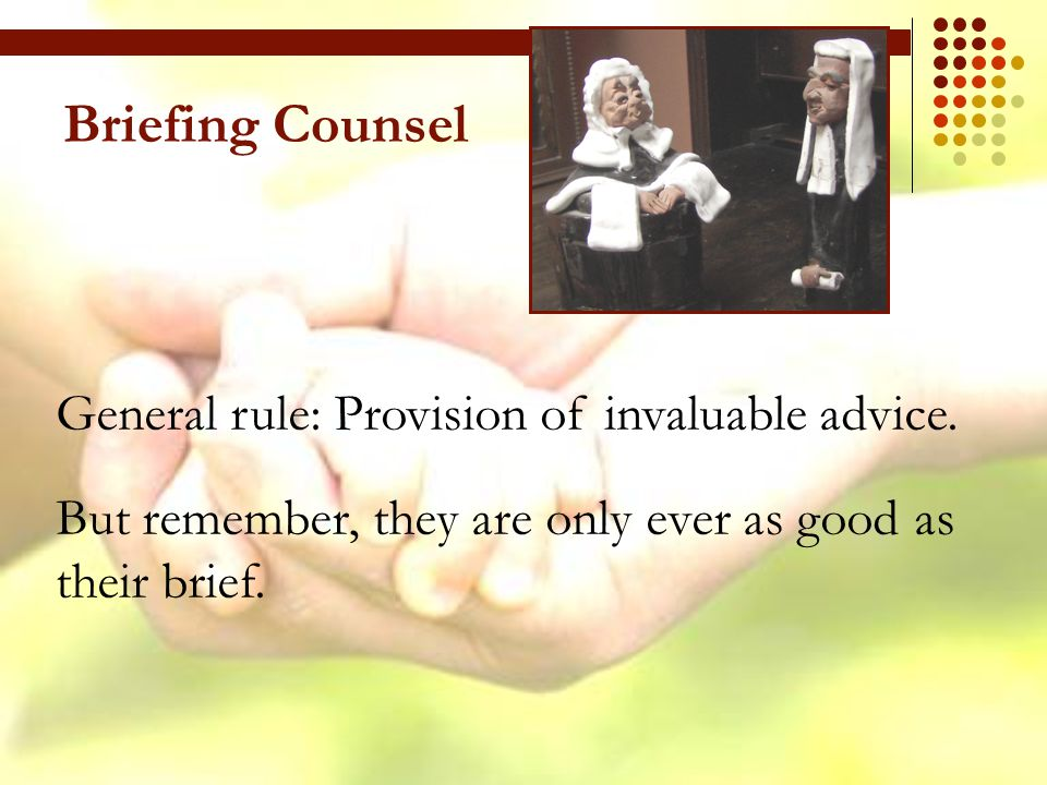 Briefing Counsel General rule: Provision of invaluable advice.