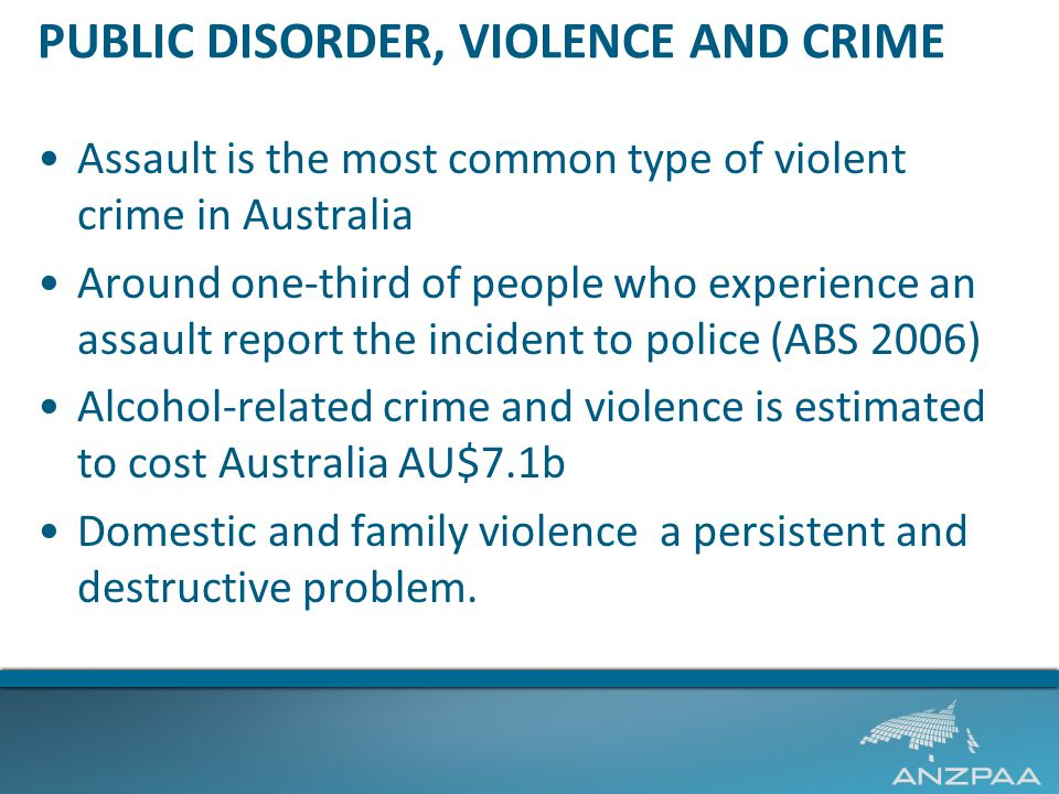 PUBLIC DISORDER, VIOLENCE AND CRIME Assault is the most common type of violent crime in Australia Around one-third of people who experience an assault report the incident to police (ABS 2006) Alcohol-related crime and violence is estimated to cost Australia AU$7.1b Domestic and family violence a persistent and destructive problem.