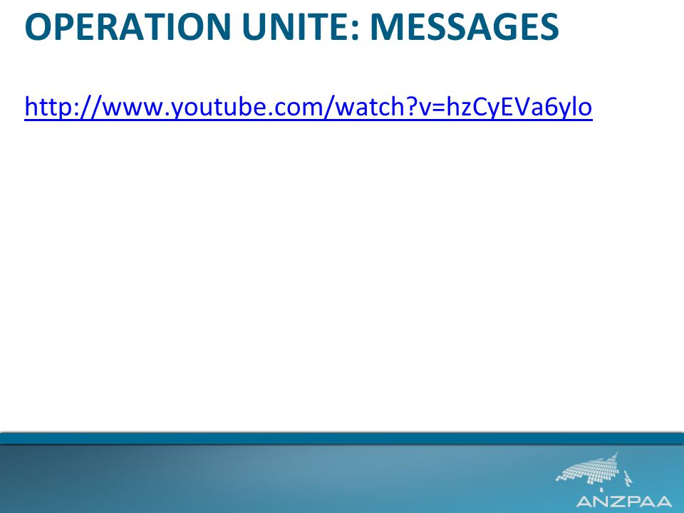 OPERATION UNITE: MESSAGES http://www.youtube.com/watch?v=hzCyEVa6ylo