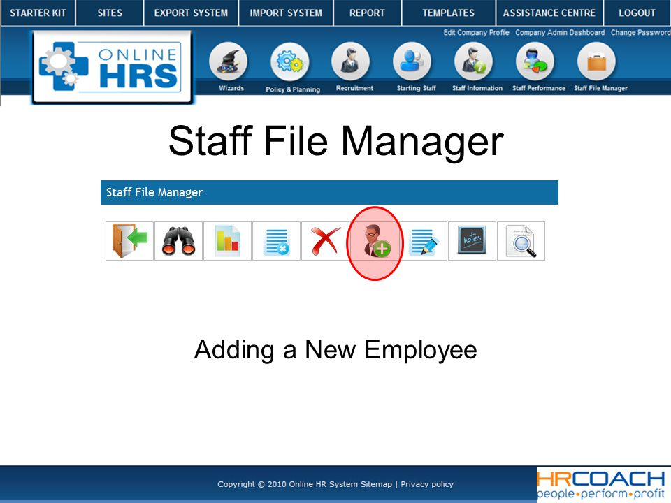 Staff File Manager Adding a New Employee