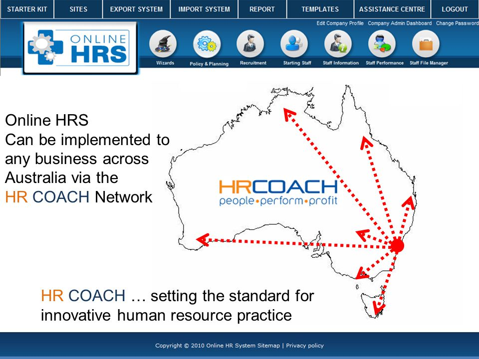 Online HRS Can be implemented to any business across Australia via the HR COACH Network HR COACH … setting the standard for innovative human resource practice