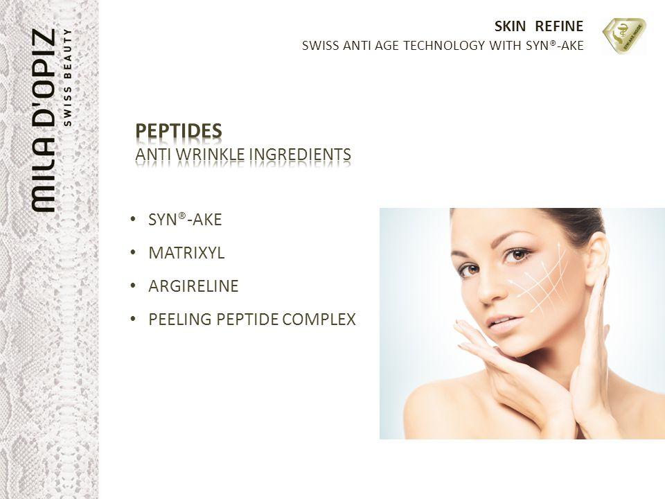 SKIN REFINE SWISS ANTI AGE TECHNOLOGY WITH SYN®-AKE SYN®-AKE MATRIXYL ARGIRELINE PEELING PEPTIDE COMPLEX