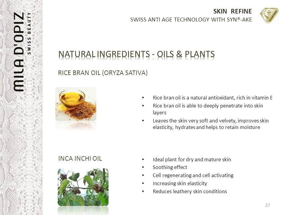 SKIN REFINE SWISS ANTI AGE TECHNOLOGY WITH SYN®-AKE RICE BRAN OIL (ORYZA SATIVA) Rice bran oil is a natural antioxidant, rich in vitamin E Rice bran o