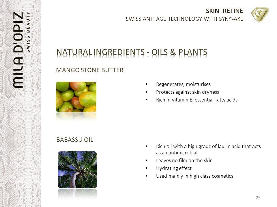 SKIN REFINE SWISS ANTI AGE TECHNOLOGY WITH SYN®-AKE MANGO STONE BUTTER Regenerates, moisturises Protects against skin dryness Rich in vitamin E, essen