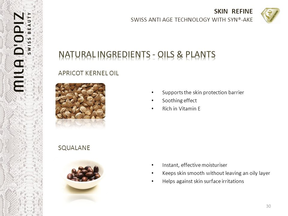 SKIN REFINE SWISS ANTI AGE TECHNOLOGY WITH SYN®-AKE APRICOT KERNEL OIL Supports the skin protection barrier Soothing effect Rich in Vitamin E Instant,