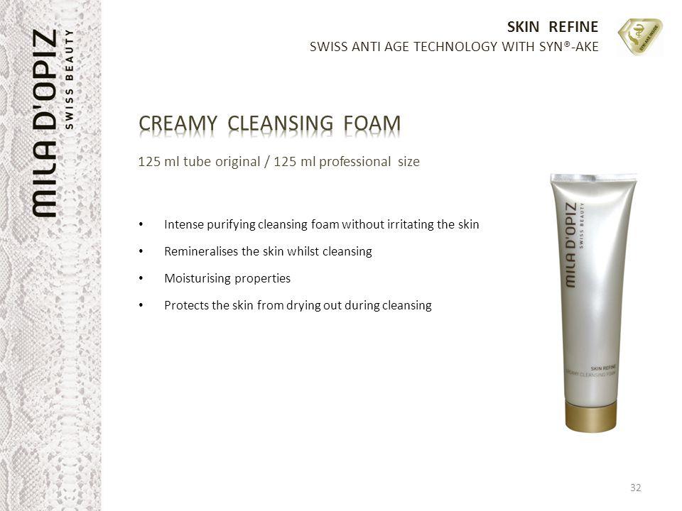 SKIN REFINE SWISS ANTI AGE TECHNOLOGY WITH SYN®-AKE 32 125 ml tube original / 125 ml professional size Intense purifying cleansing foam without irrita