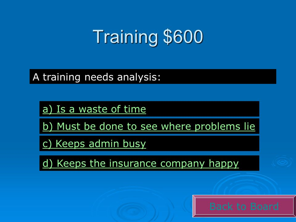 Training $600 Back to Board A training needs analysis: a) Is a waste of time b) Must be done to see where problems lie c) Keeps admin busy d) Keeps th