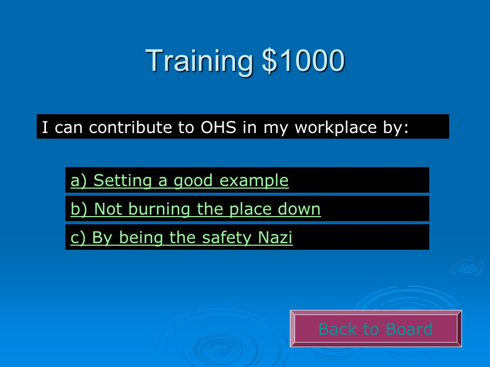 Training $1000 Back to Board I can contribute to OHS in my workplace by: a) Setting a good example b) Not burning the place down c) By being the safet
