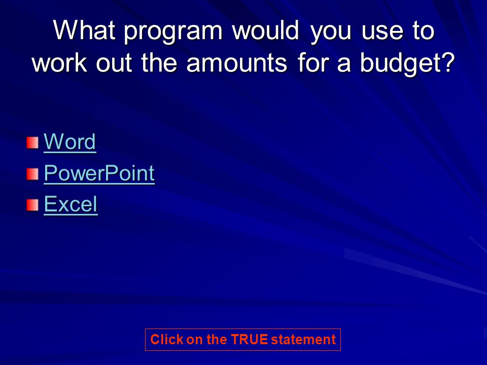 What program would you use to work out the amounts for a budget.