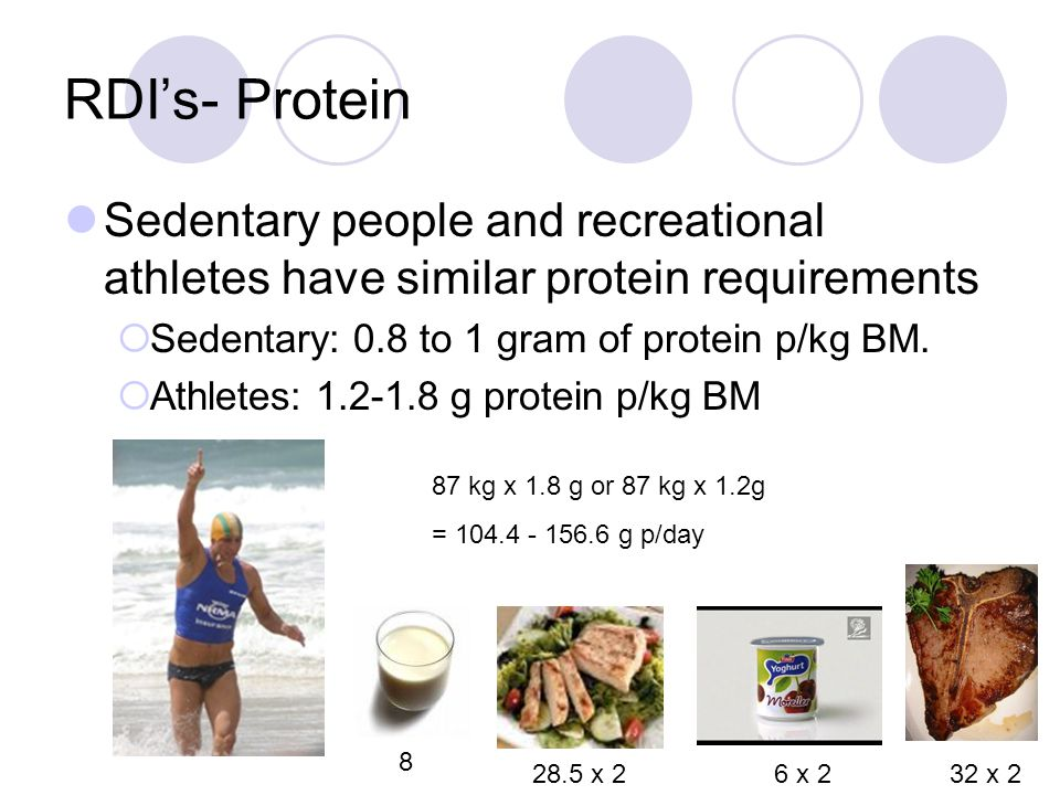 Daily intake Normal people 1500—2500 calories  50-60% carbs  20-30% fat  15-20% protein Athletes 1400 (gymnasts) – 6000 (TDF cyclists)  70-80% car