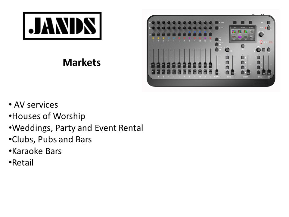 Markets AV services Houses of Worship Weddings, Party and Event Rental Clubs, Pubs and Bars Karaoke Bars Retail