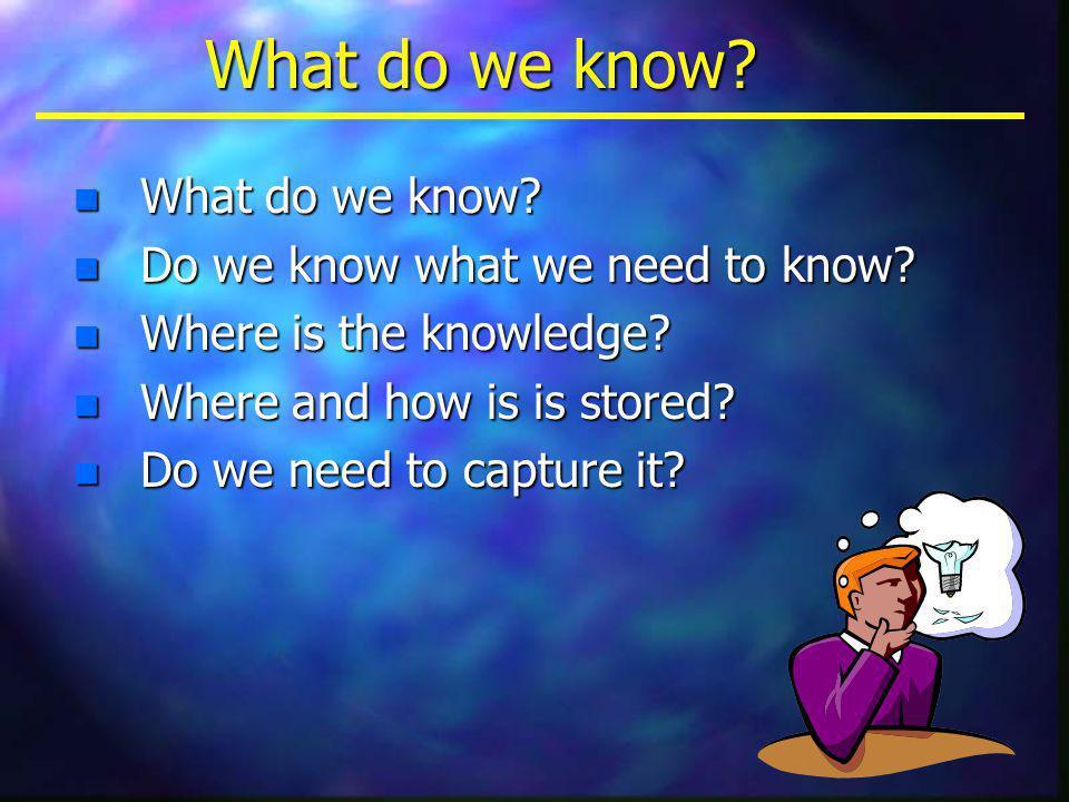 n What do we know.n Do we know what we need to know.