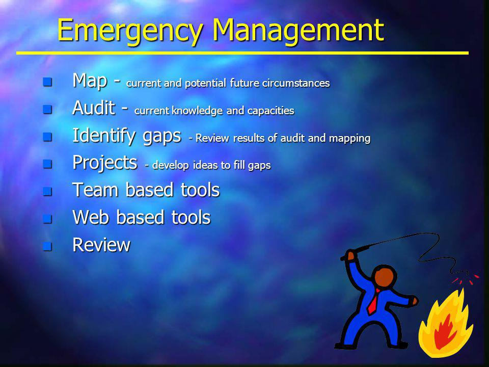 Emergency Management n Map - current and potential future circumstances n Audit - current knowledge and capacities n Identify gaps - Review results of audit and mapping n Projects - develop ideas to fill gaps n Team based tools n Web based tools n Review