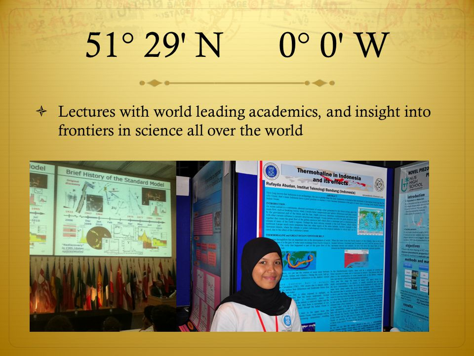 51° 29 N 0° 0 W  Lectures with world leading academics, and insight into frontiers in science all over the world