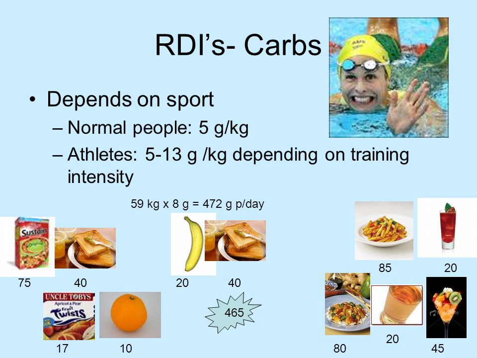 RDI's- Protein Sedentary people and recreational athletes have similar protein requirements –Sedentary Adults: 0.8 to 1 gram of protein p/kg BM.