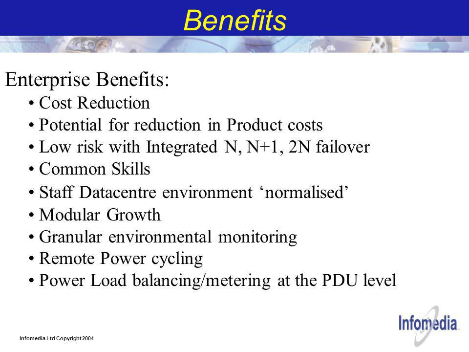 Infomedia Ltd Copyright 2004 Benefits Enterprise Benefits: Cost Reduction Potential for reduction in Product costs Low risk with Integrated N, N+1, 2N failover Common Skills Staff Datacentre environment 'normalised' Modular Growth Granular environmental monitoring Remote Power cycling Power Load balancing/metering at the PDU level