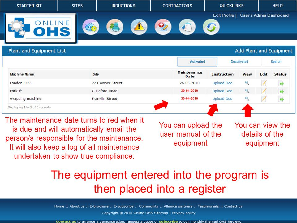 The equipment entered into the program is then placed into a register You can view the details of the equipment The maintenance date turns to red when it is due and will automatically email the person/s responsible for the maintenance.