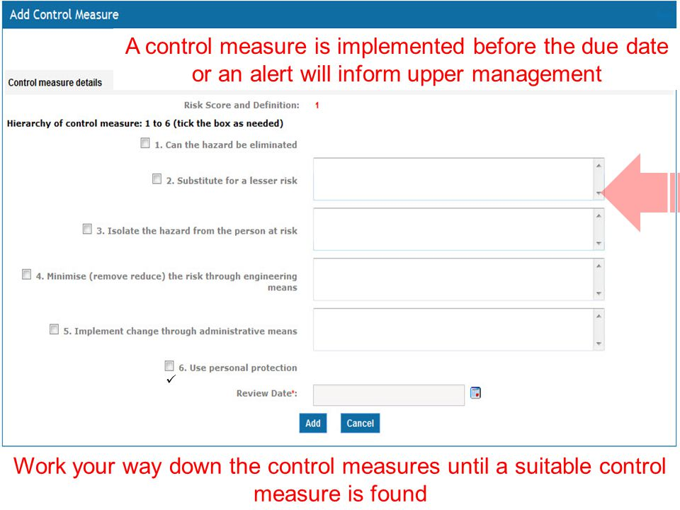 A control measure is implemented before the due date or an alert will inform upper management Work your way down the control measures until a suitable control measure is found