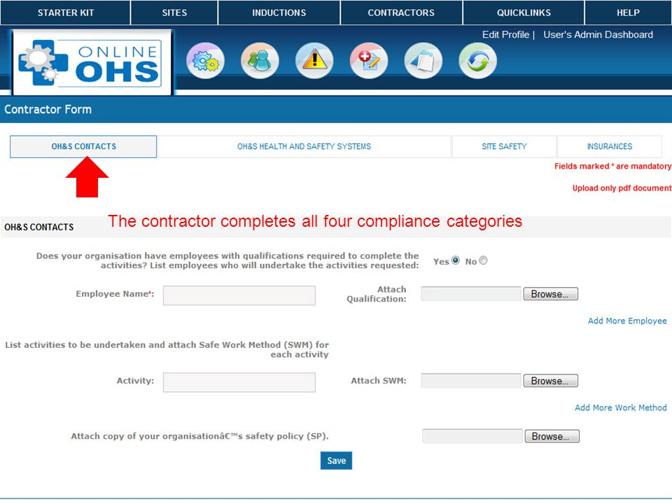 The contractor completes all four compliance categories