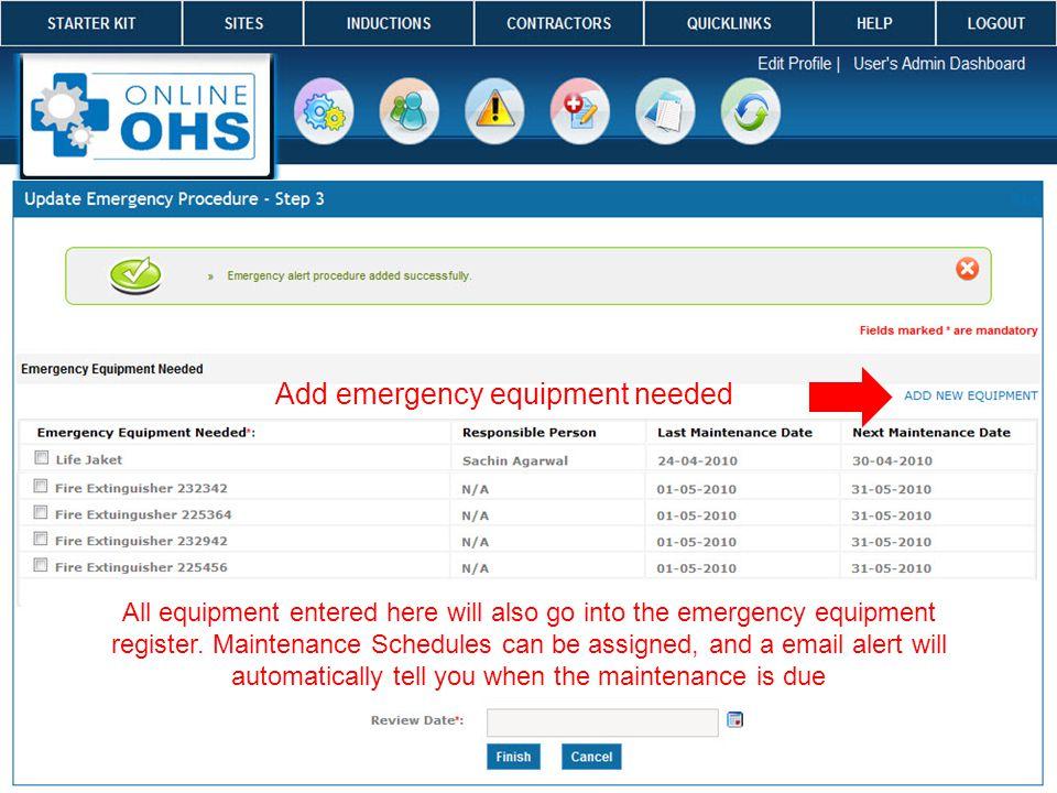tt Add emergency equipment needed All equipment entered here will also go into the emergency equipment register.