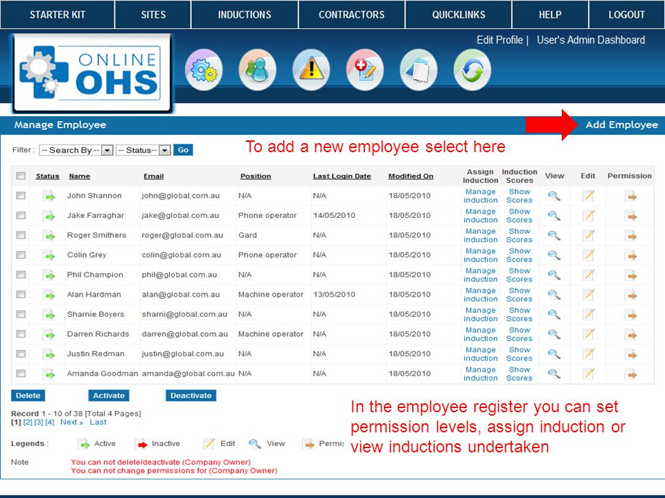 tt In the employee register you can set permission levels, assign induction or view inductions undertaken To add a new employee select here