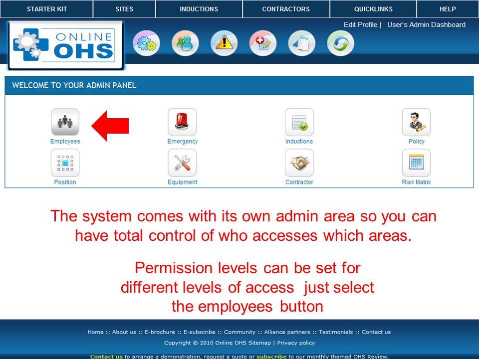 You can assign a permission level of top toolbar only, this is where the user once logged into the system will only be able to select the sites button at the top Admin accessibility, this user can go anywhere in the system Add /edit/ delete etc enables the user anywhere in the system except admin View Only, used mainly when submitting for a tender
