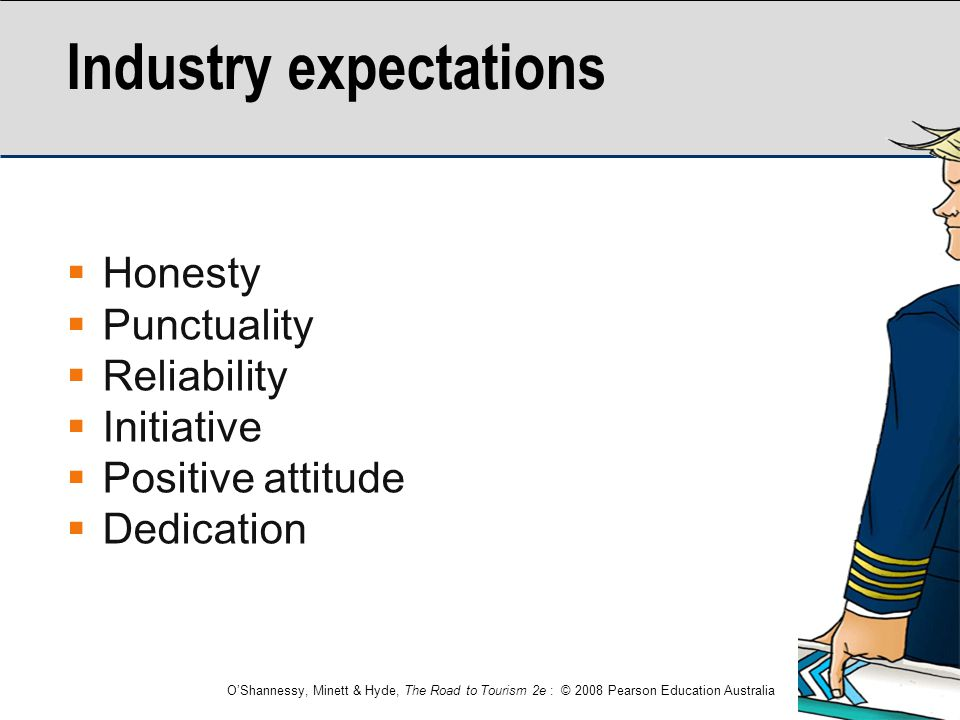 O'Shannessy, Minett & Hyde, The Road to Tourism 2e : © 2008 Pearson Education Australia Industry expectations  Honesty  Punctuality  Reliability 