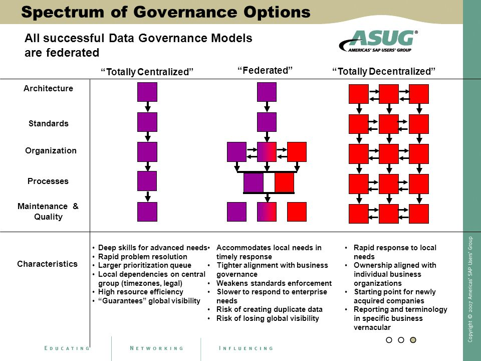 "Spectrum of Governance Options ""Federated"" ""Totally Centralized"" Architecture Organization Processes Maintenance & Quality Characteristics Deep skills"