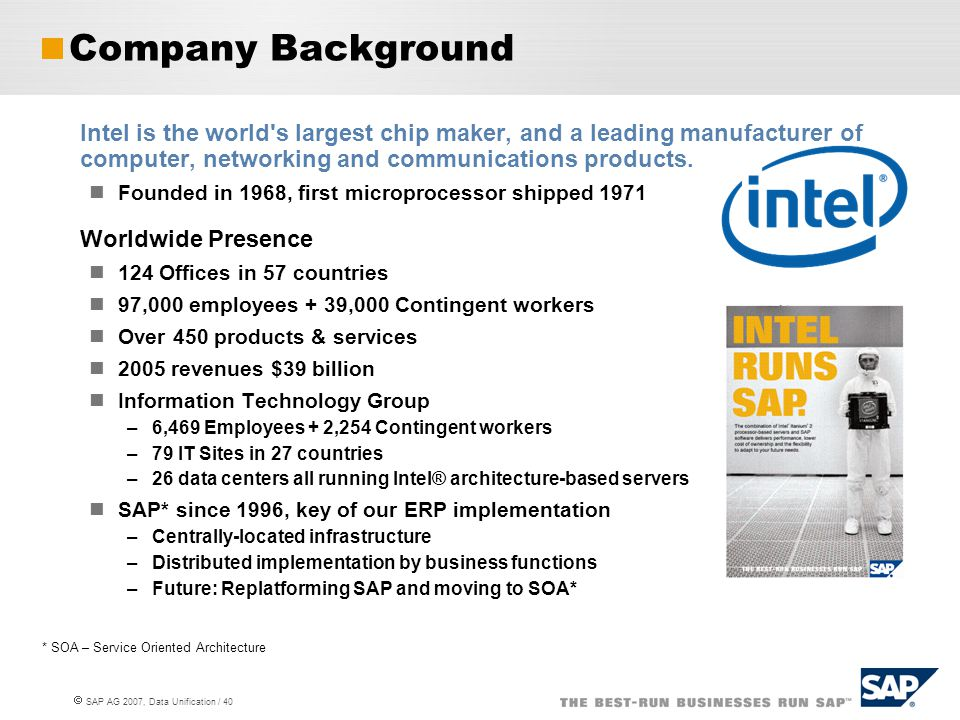  SAP AG 2007, Data Unification / 40 Intel is the world's largest chip maker, and a leading manufacturer of computer, networking and communications pr
