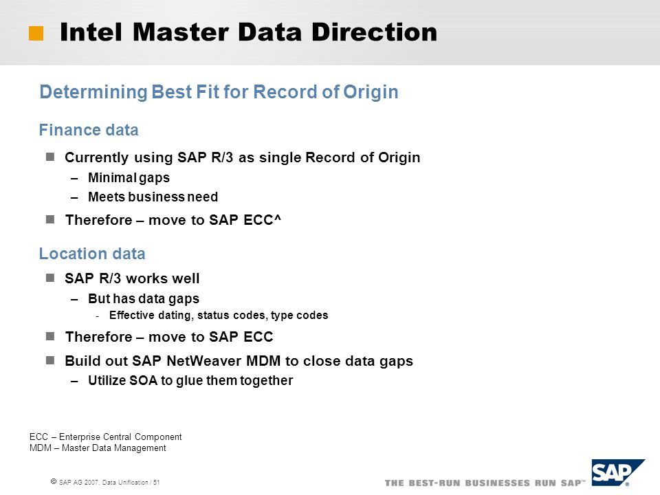  SAP AG 2007, Data Unification / 51 Intel Master Data Direction Finance data Currently using SAP R/3 as single Record of Origin –Minimal gaps –Meets