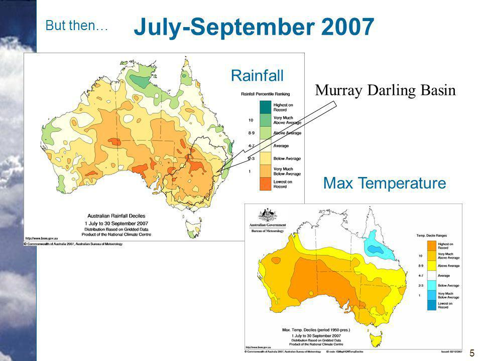 5 July-September 2007 Rainfall Max Temperature Murray Darling Basin But then…