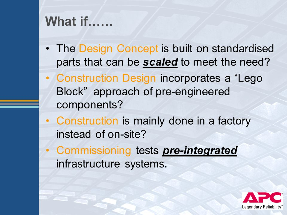 """The Design Concept is built on standardised parts that can be scaled to meet the need? Construction Design incorporates a """"Lego Block"""" approach of pre"""