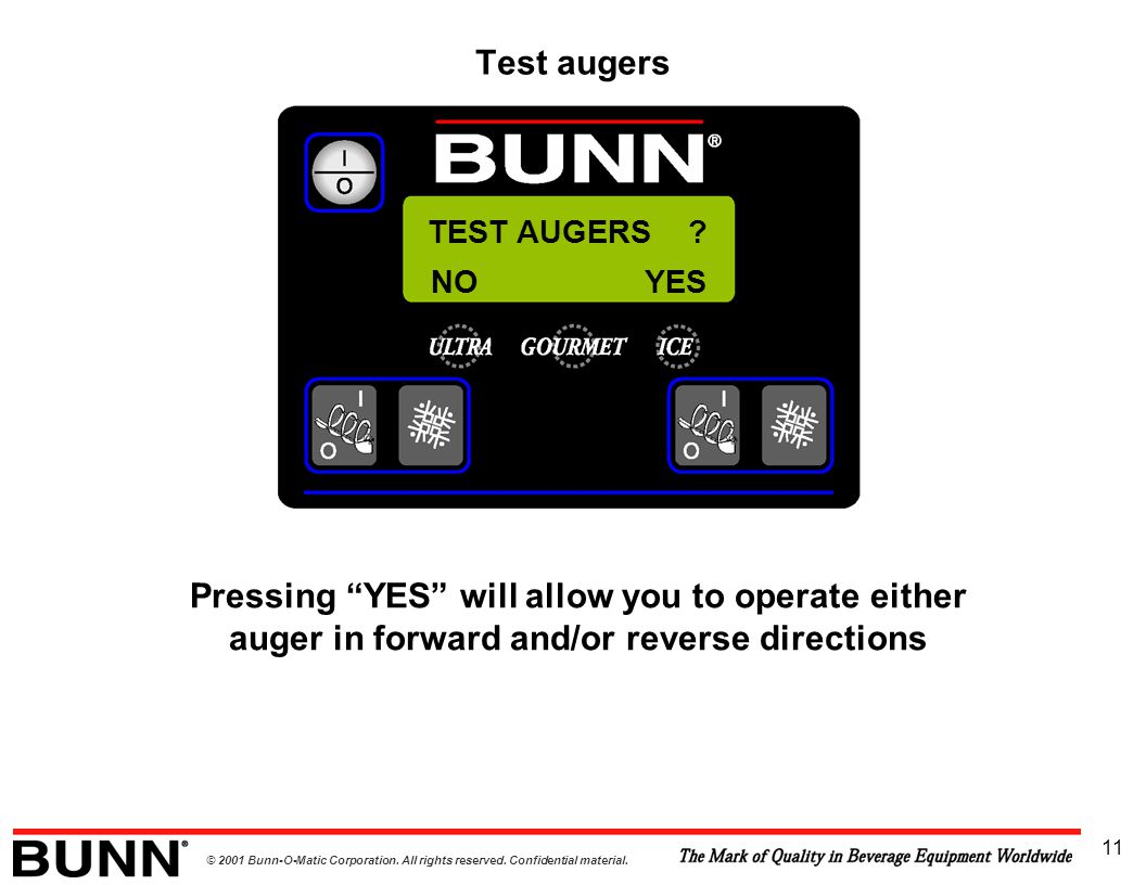 """© 2001 Bunn-O-Matic Corporation. All rights reserved. Confidential material. 11 TEST AUGERS ? Pressing """"YES"""" will allow you to operate either auger in"""