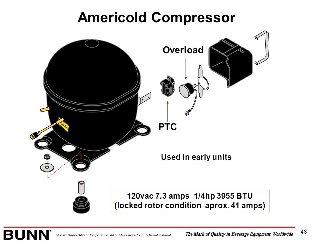 © 2001 Bunn-O-Matic Corporation. All rights reserved. Confidential material. 48 Americold Compressor Overload PTC 120vac 7.3 amps 1/4hp 3955 BTU (lock