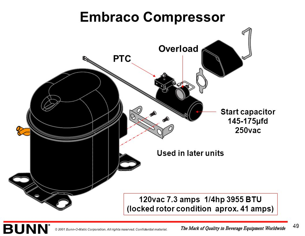© 2001 Bunn-O-Matic Corporation. All rights reserved. Confidential material. 49 Embraco Compressor Overload PTC 120vac 7.3 amps 1/4hp 3955 BTU (locked