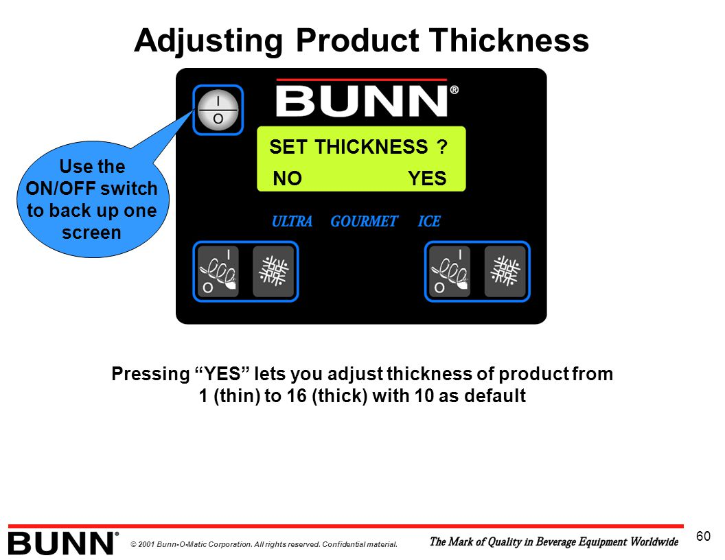 """© 2001 Bunn-O-Matic Corporation. All rights reserved. Confidential material. 60 SET THICKNESS ? Pressing """"YES"""" lets you adjust thickness of product fr"""