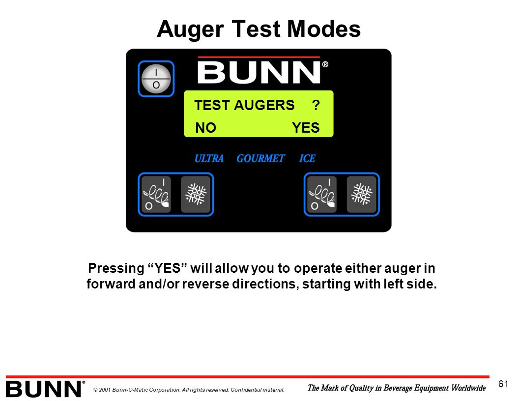 """© 2001 Bunn-O-Matic Corporation. All rights reserved. Confidential material. 61 TEST AUGERS ? Pressing """"YES"""" will allow you to operate either auger in"""
