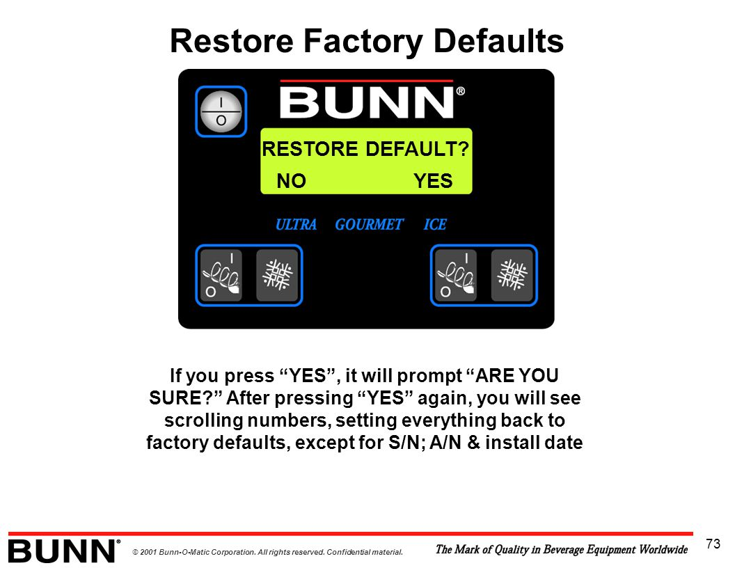 """© 2001 Bunn-O-Matic Corporation. All rights reserved. Confidential material. 73 RESTORE DEFAULT? If you press """"YES"""", it will prompt """"ARE YOU SURE?"""" Af"""