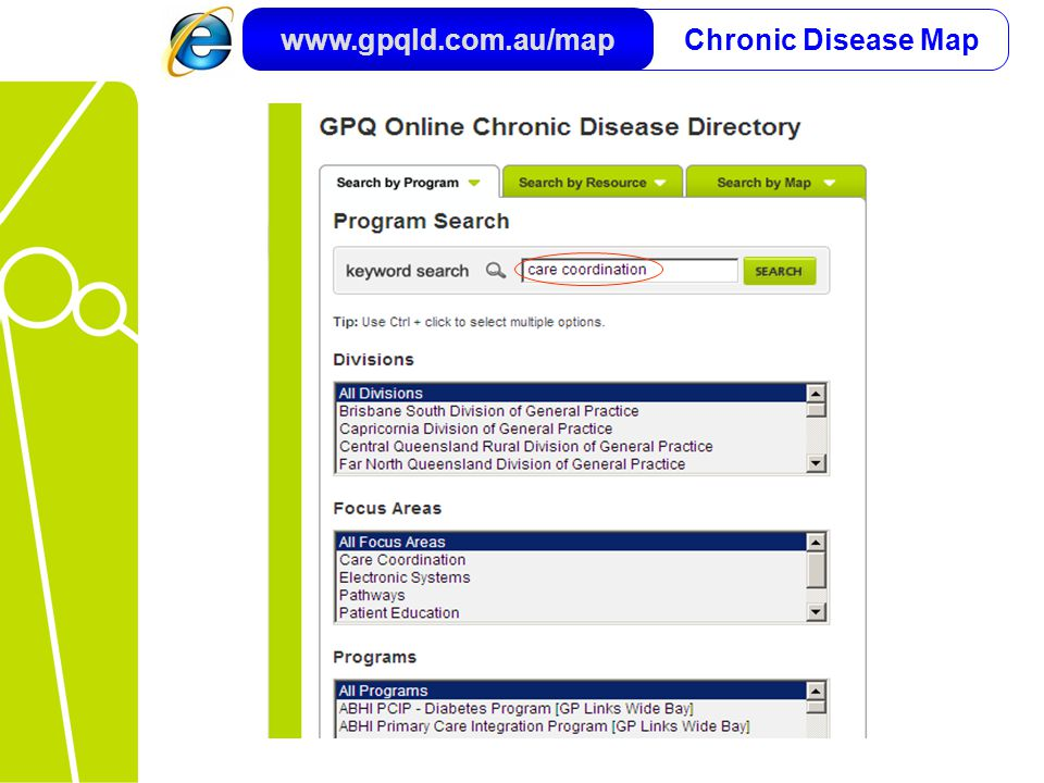 Chronic Disease Map www.gpqld.com.au/map