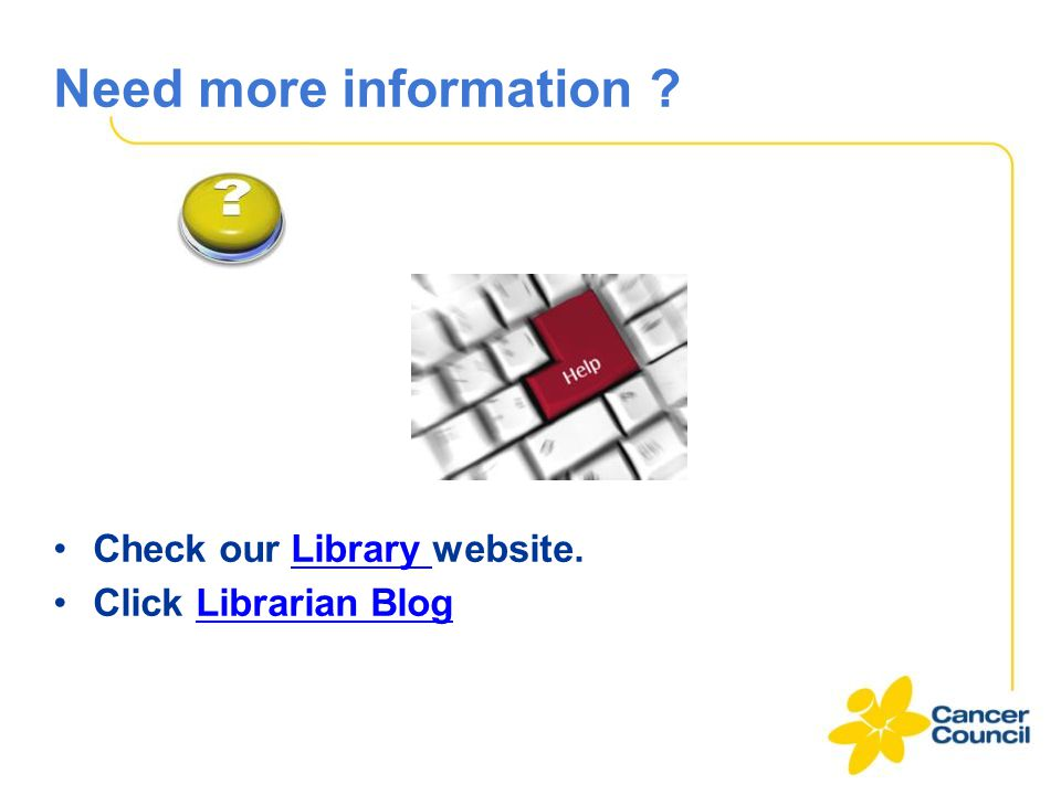 Need more information Check our Library website.Library Click Librarian BlogLibrarian Blog