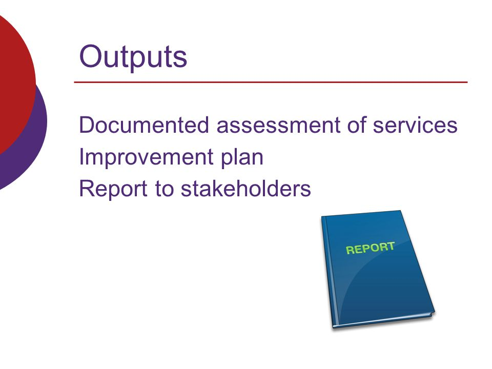 Outputs Documented assessment of services Improvement plan Report to stakeholders